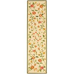 "Safavieh Hand-Hooked Garden Ivory Wool Floral Runner (2'6"" x 10')"
