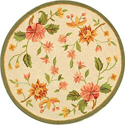 Safavieh Hand-Hooked Garden Ivory Wool Floral Rug (3' Round)