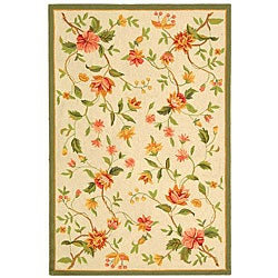 "Safavieh Hand-Hooked Floral Garden Ivory Wool Rug (3'9"" x 5'9"")"