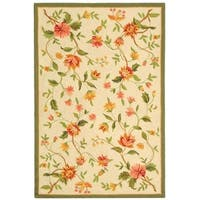 "Safavieh Hand-Hooked Floral Garden Ivory Wool Rug - 3'-9"" x 5'-9"""