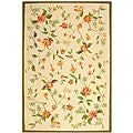 Safavieh Hand-hooked Garden Ivory Wool Floral Rug (6' x 9')