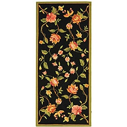 Safavieh Hand-hooked Garden Black Rectangular Wool Runner (2'6 x 6')