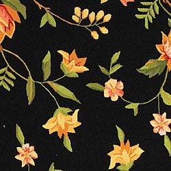 Safavieh Hand-Hooked Garden Black Wool Area Rug (6' x 9') - Thumbnail 1
