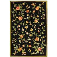 Safavieh Hand-Hooked Garden Black Wool Area Rug - 6' x 9'