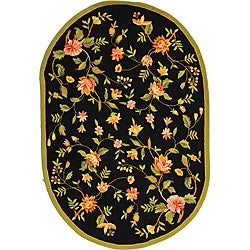 Safavieh Hand-hooked Garden Black Wool Rug (7'6 x 9'6)