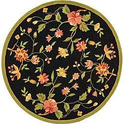 Safavieh Hand-hooked Garden Black Wool Bordered Rug (8' Round)