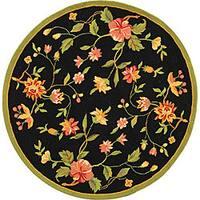 Safavieh Hand-hooked Garden Black Wool Bordered Rug - 8' x 8' Round