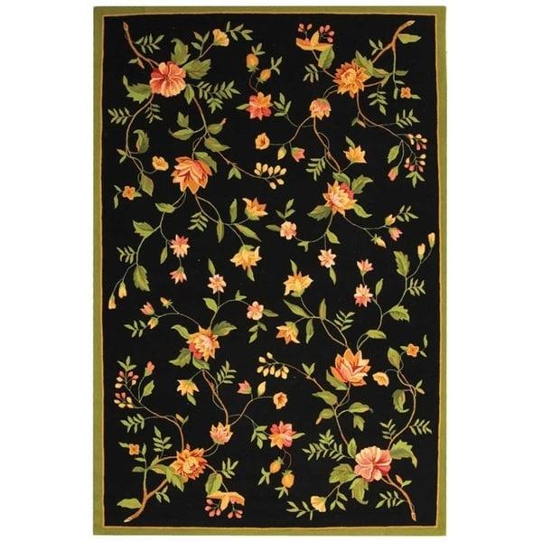 "Safavieh Hand-hooked Garden Black Wool Rug - 8'-9"" x 11'-9"""