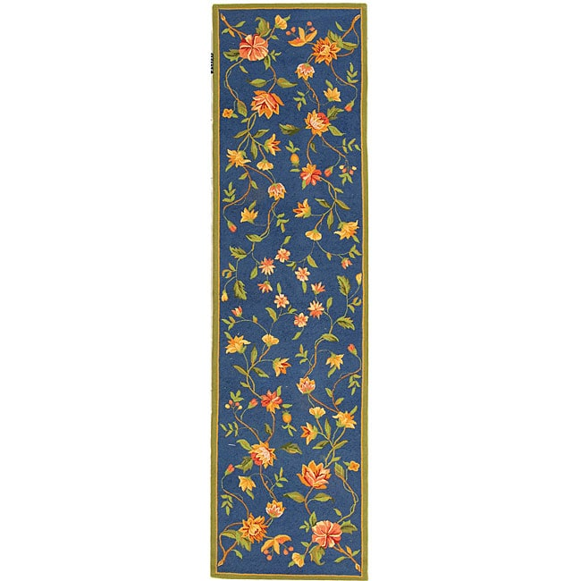 Safavieh Hand-hooked Garden Blue Wool Runner (2'6 x 10')
