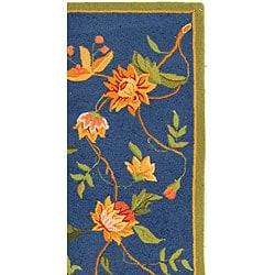 Safavieh Hand-hooked Garden Blue Wool Runner (2'6 x 10') - Thumbnail 2