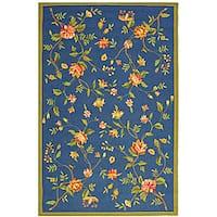 Safavieh Hand-hooked Garden Blue Wool Rug - 7'9 x 9'9