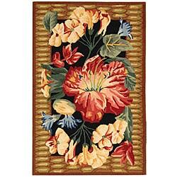 Safavieh Hand-hooked Floral Black Wool Runner (2'6 x 4')