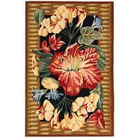 Safavieh Hand-hooked Floral Black Wool Runner - 2'6 x 4'