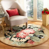 Safavieh Hand-hooked Floral Black Wool Rug - 3' x 3' Round