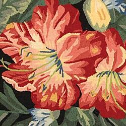 Safavieh Hand-hooked Floral Black Wool Rug (5'6 Round)
