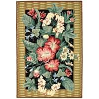 Safavieh Hand-hooked Floral Black Wool Rug - 6' x 9'