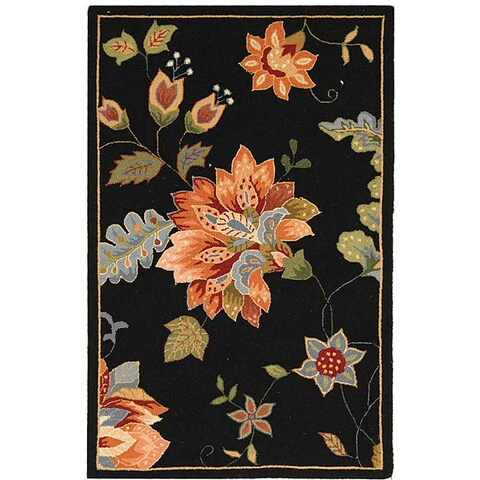 "Safavieh Hand-hooked Botanical Black Wool Runner Rug - 2'6"" x 4'"