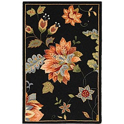 Safavieh Hand-hooked Botanical Black Wool Runner (2'6 x 4')