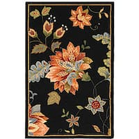 Safavieh Hand-hooked Botanical Black Wool Runner (2'6 x 4')