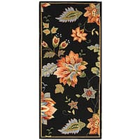 Safavieh Hand-hooked Botanical Black Wool Runner Rug - 2'6 x 6'
