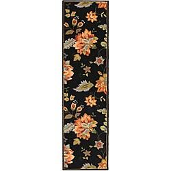 Safavieh Hand-hooked Botanical Black Wool Runner (2'6 x 8')