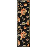 Safavieh Hand-hooked Botanical Black Wool Runner - 2'6 x 8'