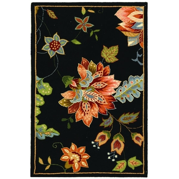 Shop Safavieh Hand Hooked Botanical Black Wool Rug 2 9