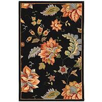 Safavieh Hand-hooked Botanical Black Wool Rug - 3'9 x 5'9