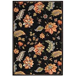 """Safavieh Hand-Hooked Botanical Black Wool Area Rug (5'3"""" x 8'3"""")"""