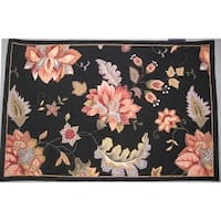 "Safavieh Hand-Hooked Botanical Black Wool Area Rug - 5'3"" x 8'3"""