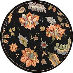 """Safavieh Hand-Hooked Botanical-Motif Black Wool Rug (5'6"""" Round)"""