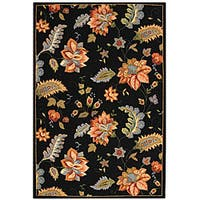 Safavieh Hand-hooked Botanical Black Wool Rug - 6' x 9'