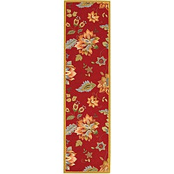 Safavieh Hand-hooked Botanical Red Wool Runner (2'6 x 10')