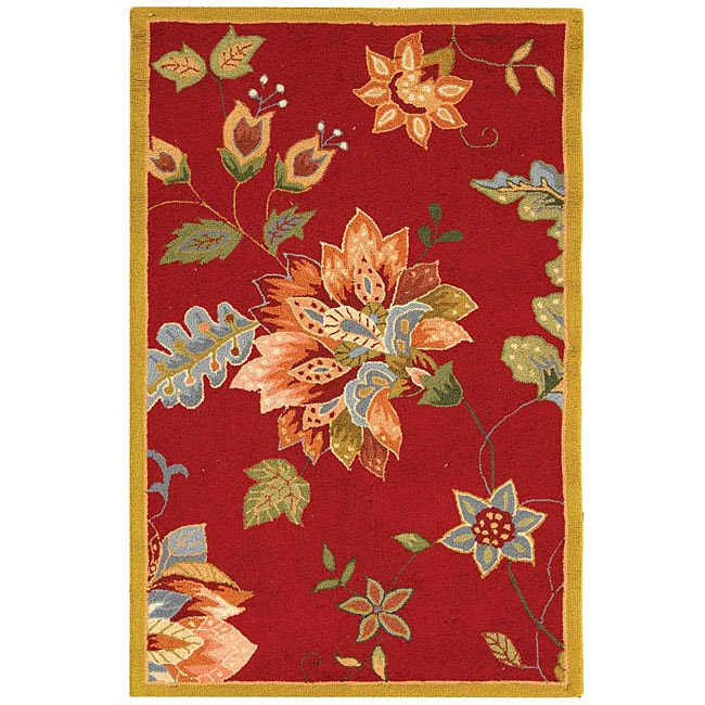 Shop Safavieh Hand Hooked Botanical Red Wool Runner Rug