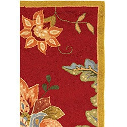 Safavieh Hand-hooked Botanical Red Wool Runner (2'6 x 4') - Thumbnail 2