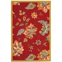 "Safavieh Hand-hooked Botanical Red Wool Rug - 3'-9"" x 5'-9"""