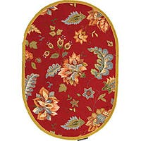 """Safavieh Hand-hooked Botanical Red Wool Rug - 4'6"""" x 6'6"""" oval"""