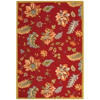 Safavieh Hand-hooked Botanical Red Wool Rug - 6' x 9'