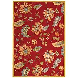 Safavieh Hand-hooked Botanical Red Wool Rug (7'9 x 9'9)