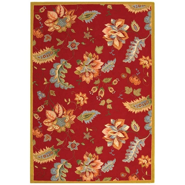 "Safavieh Hand-hooked Botanical Red Wool Rug - 7'-9"" x 9'-9"""