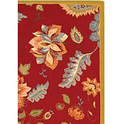 Safavieh Hand-hooked Botanical Red Wool Rug (8'9 x 11'9) - Thumbnail 2