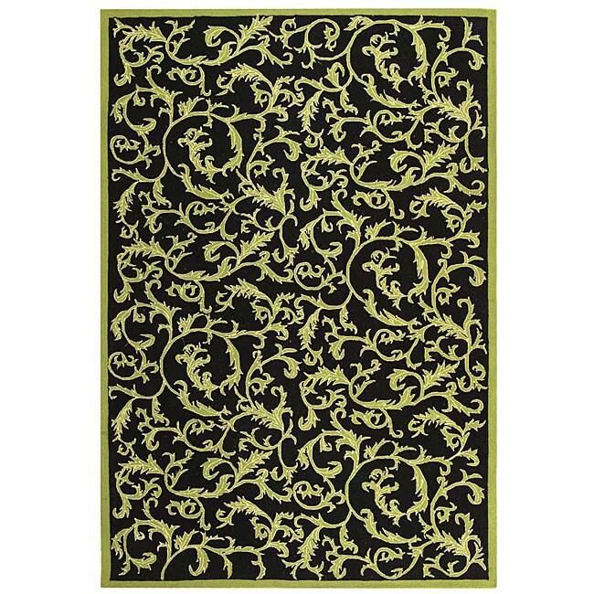 Shop Safavieh Hand-hooked Ferns Black/ Olive Wool Rug