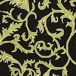 Safavieh Hand-hooked Ferns Black/ Olive Wool Rug (8'9 x 11'9) - Thumbnail 1