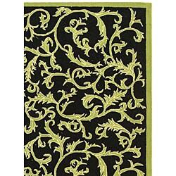 Safavieh Hand-hooked Ferns Black/ Olive Wool Rug (8'9 x 11'9) - Thumbnail 2