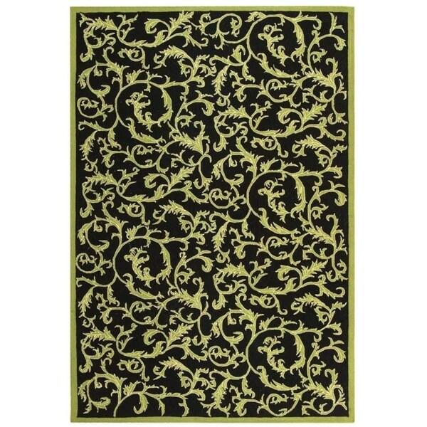 "Safavieh Hand-hooked Ferns Black/ Olive Wool Rug - 8'9"" x 11'9"""