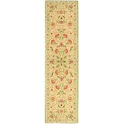 Safavieh Hand-hooked Bedford Beige/ Green Wool Runner (2'6 x 12')