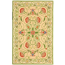 Safavieh Hand-hooked Bedford Beige/ Green Wool Runner (2'6 x 4')