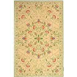 Safavieh Hand-hooked Bedford Beige/ Green Wool Rug (3'9 x 5'9)