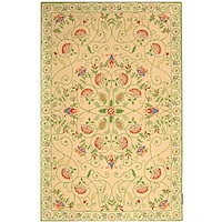 Safavieh Hand-hooked Bedford Beige/ Green Wool Rug - 3'9 x 5'9
