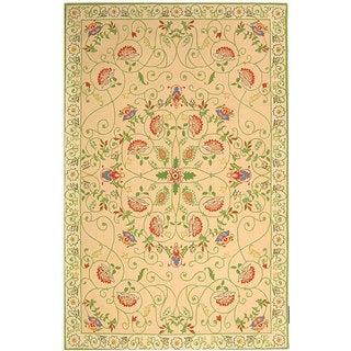 Safavieh Hand-hooked Bedford Beige/ Green Wool Rug (5'3 x 8'3)